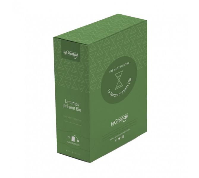 Boite sachet - 6x24 sachets - Thé vert menthe  - Le temps présent Bio